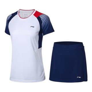 Li-Ning Women's Badminton Game Suit - White/Dark Blue | LiNing Fast Dry Badminton Shirts + Skirts