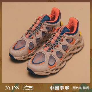 Li Ning Arc ACE Men's 2019 NYFW Cushion Running Shoes - Foggy Apricot/Dark Blue