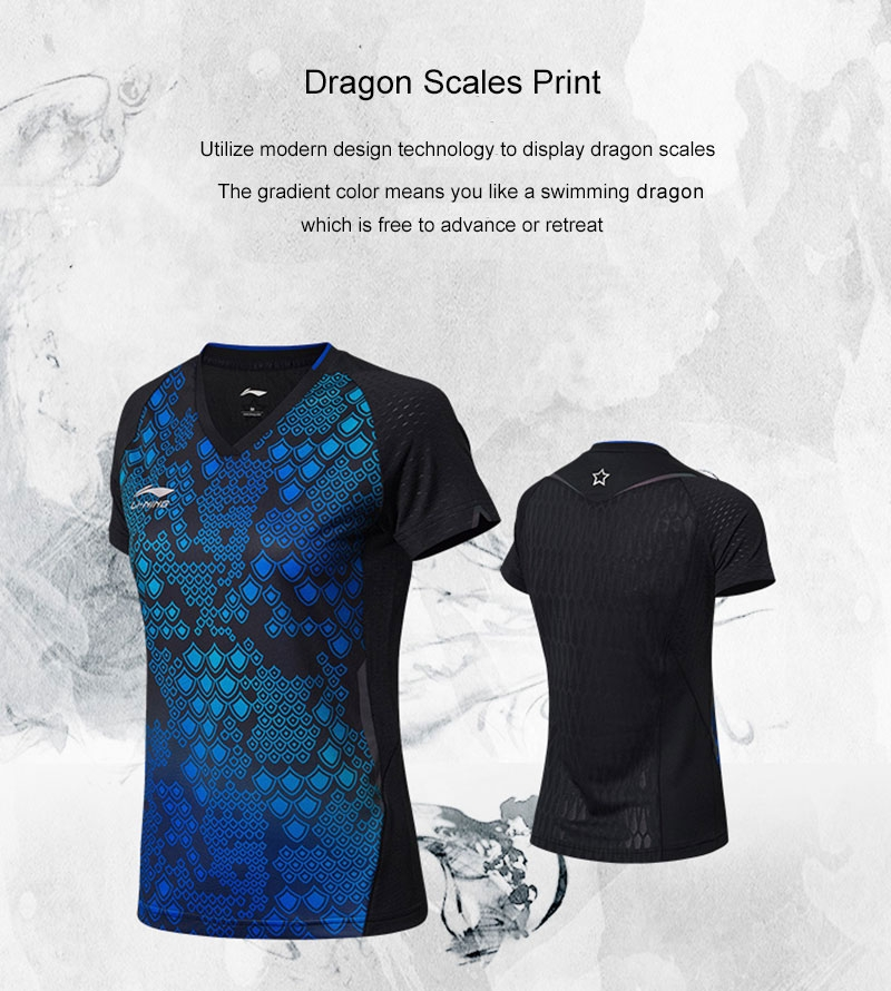 Li-Ning 2018 National Women's Table Tennis Team Sponsor PingPong T-Shirts