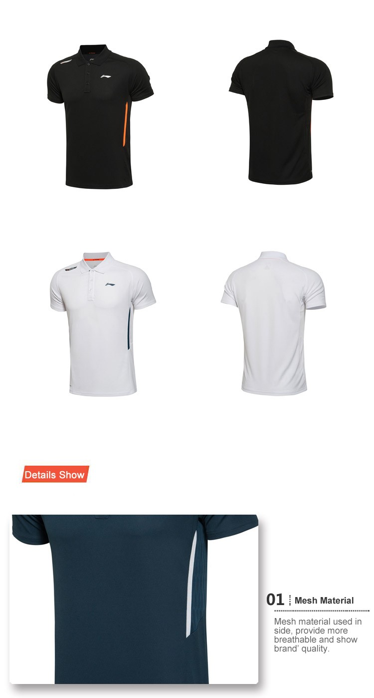 Li Ning Training 2017 Summer Men's Fast Dry Fitness Polo Shirts