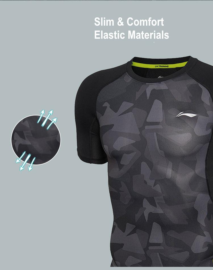 Li Ning Men's Dry Fit Short Sleeve Compression Fitness & Training Shirts