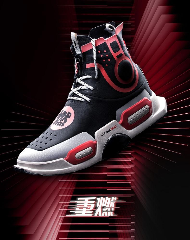 Li-Ning 1990 NYFW 2018 中国李宁 Reburn Chong Ran Unisex High Basketball Casual Shoes | Black Red